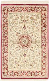 Ghom Soie Tapis 98X155 D'orient Fait Main Beige/Beige Foncé (Soie, Perse/Iran)