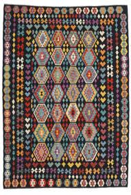 Kilim Afghan Old Style Tapis 207X295 D'orient Tissé À La Main Noir (Laine, Afghanistan)
