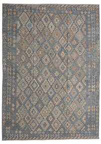 Kilim Afghan Old Style Tapis 249X348 D'orient Tissé À La Main Gris Foncé/Gris Clair (Laine, Afghanistan)