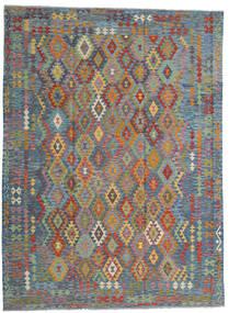 Kilim Afghan Old Style Tapis 256X351 D'orient Tissé À La Main Gris Clair/Marron Clair Grand (Laine, Afghanistan)