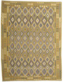 Kilim Afghan Old Style Tapis 298X389 D'orient Tissé À La Main Vert Olive/Gris Foncé Grand (Laine, Afghanistan)
