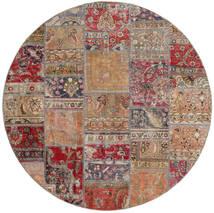 Patchwork - Persien/Iran Tapis Ø 200 Moderne Fait Main Rond Gris Clair/Rouge Foncé (Laine, Perse/Iran)