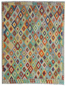 Kilim Afghan Old Style Tapis 190X247 D'orient Tissé À La Main Gris Clair/Vert Foncé (Laine, Afghanistan)