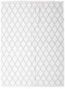 Bambou Soie Kilim Tapis 170X220 Moderne Tissé À La Main Blanc/Crème/Gris Clair (Laine/Soie De Bambou, Inde)