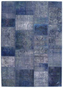 Patchwork - Persien/Iran Tapis 140X198 Moderne Fait Main Bleu/Bleu Foncé/Violet Clair (Laine, Perse/Iran)