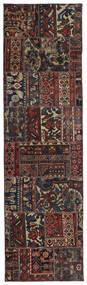 Patchwork - Persien/Iran Tapis 74X262 Moderne Fait Main Tapis Couloir Noir/Marron Foncé (Laine, Perse/Iran)