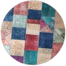 Patchwork - Persien/Iran Tapis Ø 200 Moderne Fait Main Rond Bleu Foncé/Violet (Laine, Perse/Iran)