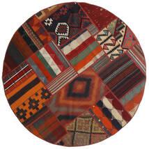 Tekkeh Kilim Tapis Ø 150 Moderne Tissé À La Main Rond Rouge Foncé/Noir (Laine, Perse/Iran)