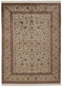 Cachemire Pure Soie Tapis 157X214 D'orient Fait Main Marron/Gris Clair/Marron Clair (Soie, Inde)