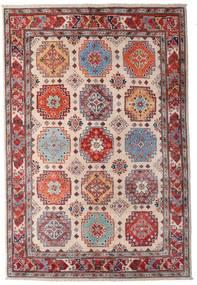 Kazak Tapis 123X181 D'orient Fait Main Rouge Foncé/Marron Foncé/Rose Clair (Laine, Afghanistan)