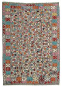Kilim Afghan Old Style Tapis 168X236 D'orient Tissé À La Main Gris Clair/Gris Foncé (Laine, Afghanistan)