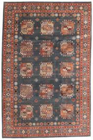Kazak Tapis 195X296 D'orient Fait Main Gris Foncé/Rouge Foncé (Laine, Afghanistan)