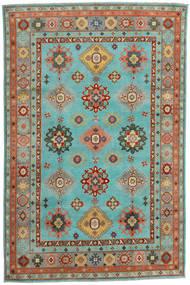 Kazak Tapis 200X304 D'orient Fait Main Bleu Turquoise/Rouge (Laine, Afghanistan)