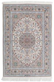 Ispahan Chaîne De Soie Tapis 110X160 D'orient Fait Main Gris Clair/Blanc/Crème (Laine/Soie, Perse/Iran)