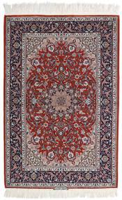 Ispahan Chaîne De Soie Tapis 110X165 D'orient Fait Main Gris Clair/Rouge Foncé (Laine/Soie, Perse/Iran)