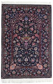Ispahan Chaîne De Soie Tapis 110X160 D'orient Fait Main Noir/Violet Foncé (Laine/Soie, Perse/Iran)