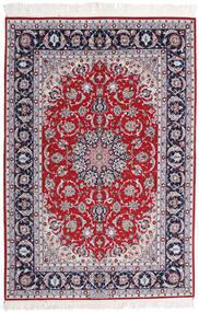 Ispahan Chaîne De Soie Signé Ansari Tapis 158X237 D'orient Fait Main Violet Clair/Gris Foncé (Laine/Soie, Perse/Iran)