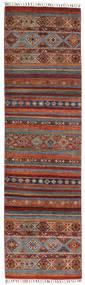Shabargan Tapis 83X292 Moderne Fait Main Tapis Couloir Marron Foncé/Rouge (Laine, Afghanistan)
