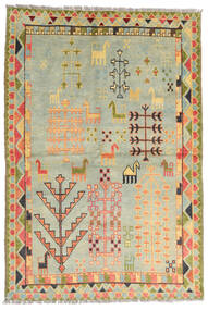 Moroccan Berber - Afghanistan Tapis 100X200 Moderne Fait Main Gris Clair/Beige Foncé/Vert Clair (Laine, Afghanistan)