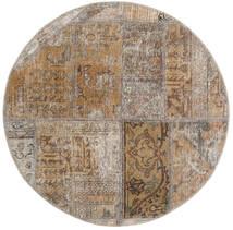 Patchwork - Persien/Iran Tapis Ø 100 Moderne Fait Main Rond Gris Clair/Marron Clair (Laine, Perse/Iran)