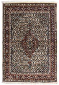Moud Tapis 98X143 D'orient Fait Main Gris Clair/Noir (Laine/Soie, Perse/Iran)