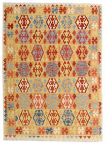 Kilim Afghan Old Style Tapis 182X252 D'orient Tissé À La Main Beige Foncé/Orange (Laine, Afghanistan)