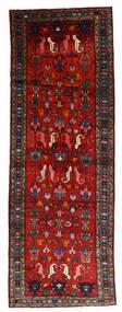 Hamadan Tapis 112X330 D'orient Fait Main Tapis Couloir Rouge Foncé/Rouille/Rouge/Noir (Laine, Perse/Iran)