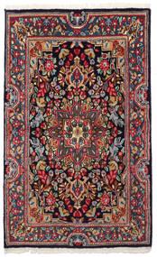 Kerman Tapis 90X149 D'orient Fait Main Gris Foncé/Bleu Foncé (Laine, Perse/Iran)