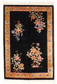 Chinois Art Soie 120 Line Tapis 122X183 D'orient Fait Main Noir/Blanc/Crème ( Chine)