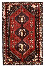 Shiraz Tapis 160X247 D'orient Fait Main Noir/Rouge Foncé/Rouille/Rouge (Laine, Perse/Iran)