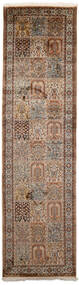 Cachemire Pure Soie Tapis 84X306 D'orient Fait Main Tapis Couloir Marron/Gris Clair (Soie, Inde)
