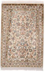 Cachemire Pure Soie Tapis 64X97 D'orient Fait Main Marron Foncé/Beige (Soie, Inde)