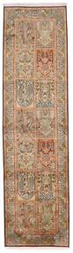 Cachemire Pure Soie Tapis 82X300 D'orient Fait Main Tapis Couloir Marron (Soie, Inde)