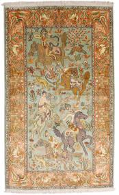Cachemire Pure Soie Tapis 93X155 D'orient Fait Main Beige Foncé/Marron (Soie, Inde)
