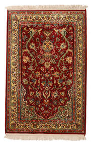 Cachemire Pure Soie Tapis 62X95 D'orient Fait Main Rouge Foncé/Marron Foncé (Soie, Inde)