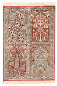 Cachemire Pure Soie Tapis 65X93 D'orient Fait Main Marron Clair/Beige (Soie, Inde)