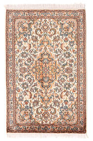 Cachemire Pure Soie Tapis 64X100 D'orient Fait Main Rose Clair/Marron Clair (Soie, Inde)