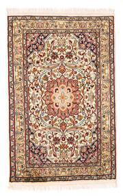 Cachemire Pure Soie Tapis 58X90 D'orient Fait Main Beige/Marron Foncé (Soie, Inde)