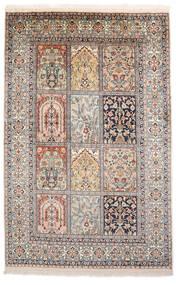 Cachemire Pure Soie Tapis 93X143 D'orient Fait Main Gris Clair/Marron (Soie, Inde)