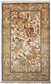 Cachemire Pure Soie Tapis 94X152 D'orient Fait Main Marron/Beige Foncé (Soie, Inde)