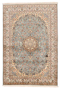 Cachemire Pure Soie Tapis 127X188 D'orient Fait Main Beige/Marron Foncé (Soie, Inde)