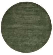 Handloom - Vert Forêt Tapis Ø 200 Moderne Rond Vert Foncé (Laine, Inde)
