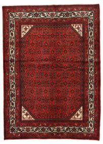 Hosseinabad Tapis 146X205 D'orient Fait Main Rouge Foncé/Rouille/Rouge (Laine, Perse/Iran)
