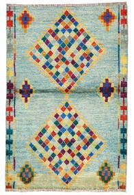 Moroccan Berber - Afghanistan Tapis 95X143 Moderne Fait Main Vert Pastel/Bleu Turquoise (Laine, Afghanistan)