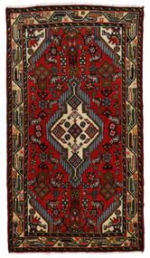 Hamadan Tapis 75X135 D'orient Fait Main Marron Foncé/Rouille/Rouge (Laine, Perse/Iran)