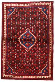 Hosseinabad Tapis 104X157 D'orient Fait Main Rouille/Rouge/Rouge Foncé/Noir (Laine, Perse/Iran)