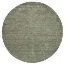 Handloom - Soft Teal Tapis Ø 200 Moderne Rond Gris Foncé (Laine, Inde)
