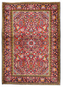 Kashan Tapis 103X147 D'orient Fait Main Rouge Foncé/Violet Foncé (Laine, Perse/Iran)