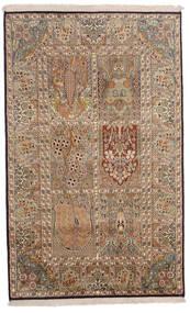 Cachemire Pure Soie Tapis 96X154 D'orient Fait Main Marron/Marron Clair (Soie, Inde)