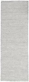 Kilim Honey Comb - Cream/Noir Tapis 80X240 Moderne Tissé À La Main Tapis Couloir Gris Clair/Beige (Laine, Inde)